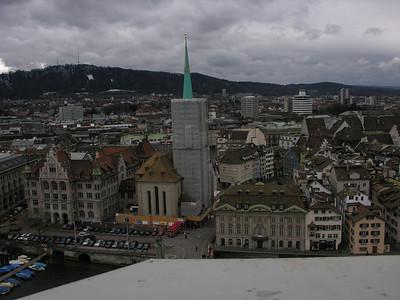 Switzerland, Zurich, Fraumunster view from Grossmuenster (Great Church) Switzerland, Zurich