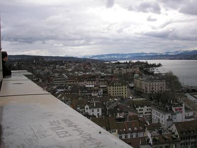 view from Grossmuenster (Great Church) Switzerland, Zurich,