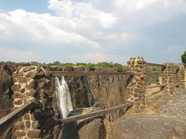 Walking the train along the gorges at Victoria Falls.