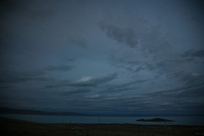 In El Calafate, the southernmost place on our trip. 10pm and still enough light to read, or play gin rummy.