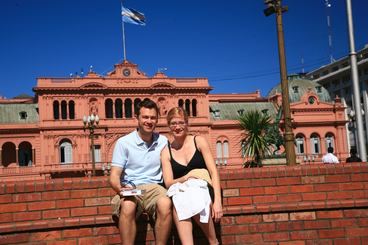 In front of the Casa Rosada in Buenos Aires.