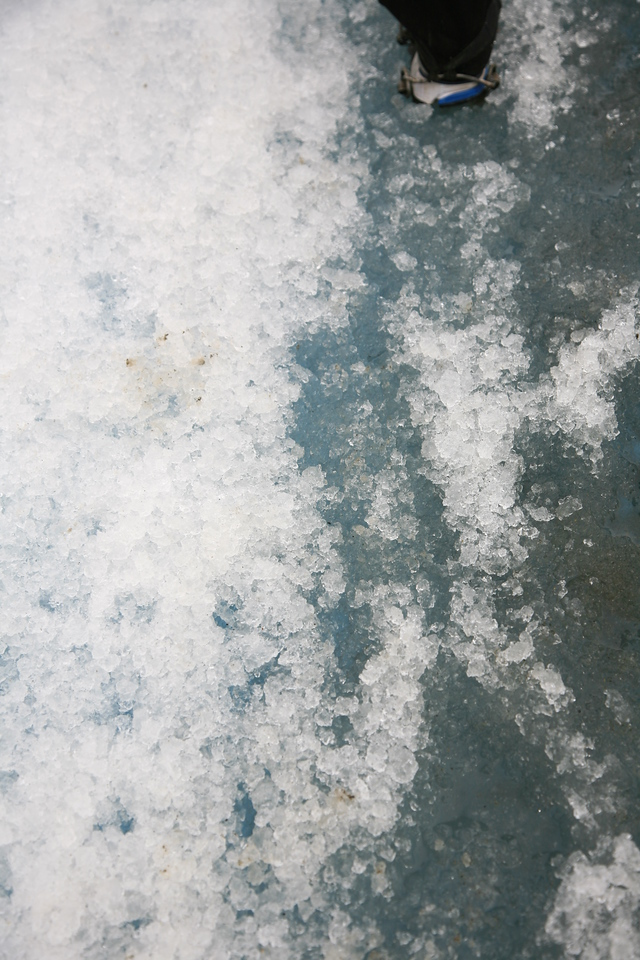 The consistency of the glacier -- like crushed ice on an ice rink.