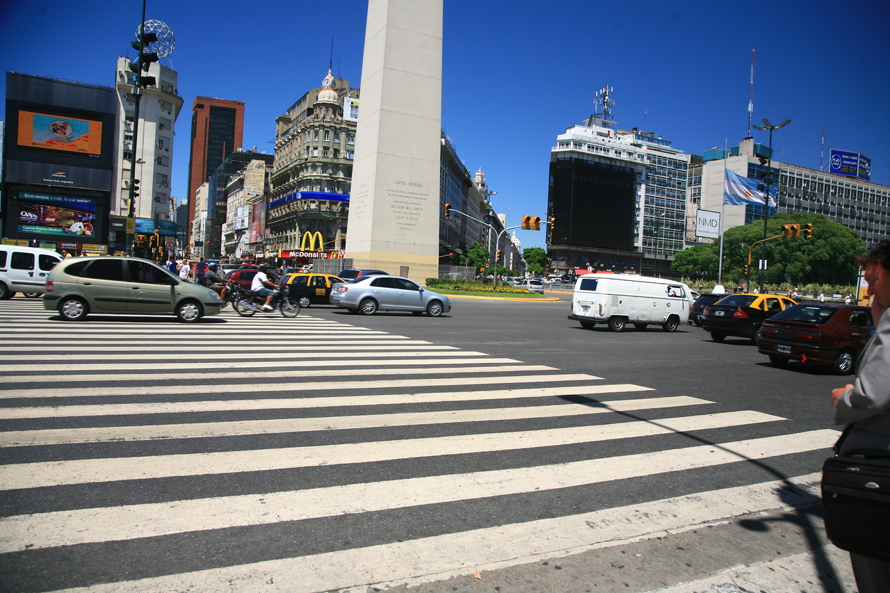 9 de Julio, the widest street in the world with 18 lanes of traffic. Great for frogger.