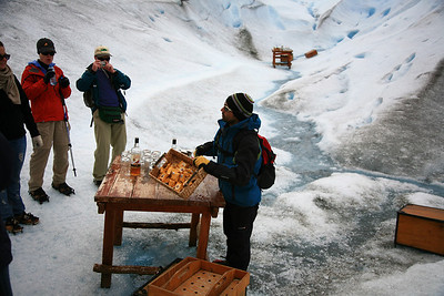 A nice surprise at the end of our glacier trek. Scotch on glacier ice!