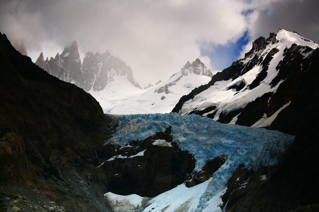View of a glacier and mountains on the hike.