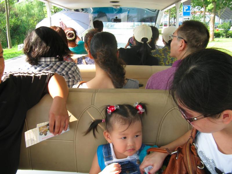 On the tourist bus to the Mao statue on Orange Island