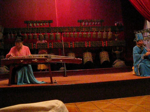 Traditional musical performance in Yuelu Academy with stone chimes, bell chimes, Chinese windpipe, and 25-string horizontal harp