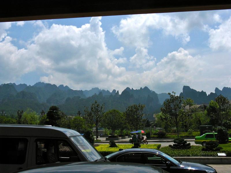 mountain range in background