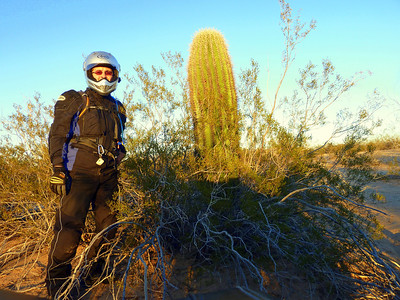 Ted at a cactus. I had to ride offroad and get a pic with one.