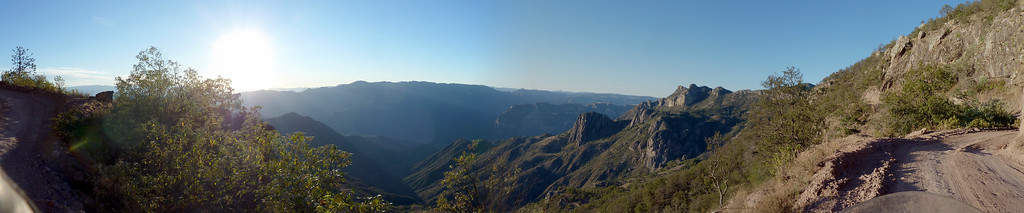 Panorama of the canyons. Sun is headed down.