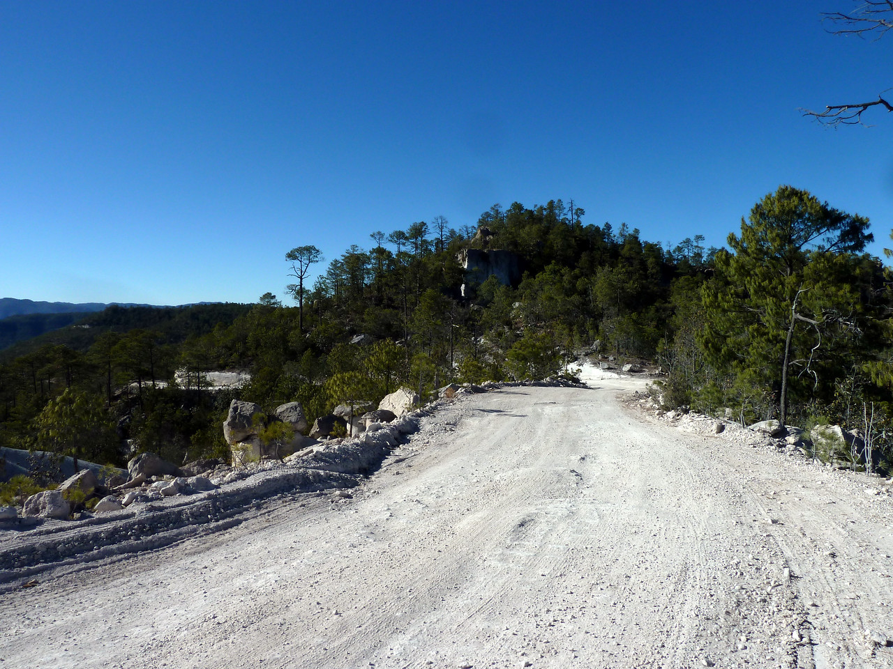 Looking down the dirt road. Cool rock in the center of the picture.