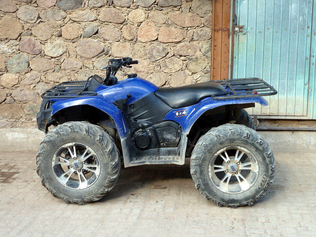 Blinged rims on a quad.