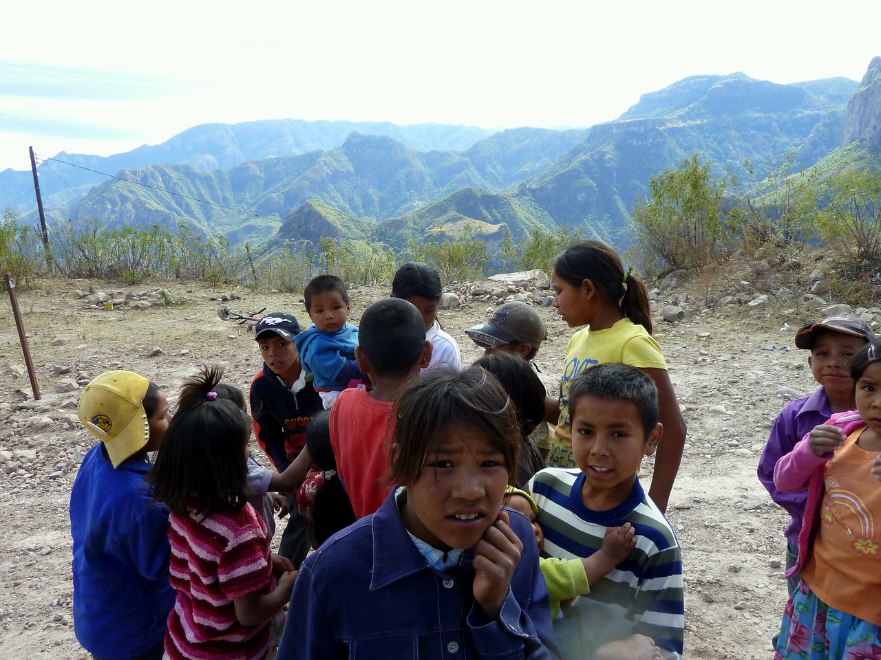 Kids on the Urique switchbacks. They are much more interested in the gum than the camera.