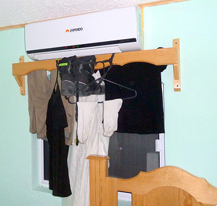Handwashed clothes, hanging to dry.