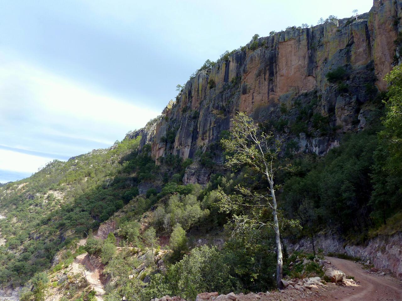Descent and cliffs.