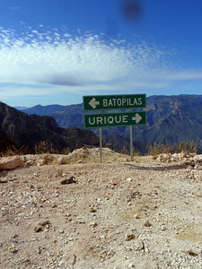 Batopilas-Urique sign. The road gets worse between here and Urique.