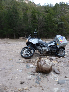 Got the rock dug out. This is what I highsided the bike on. (blurry)