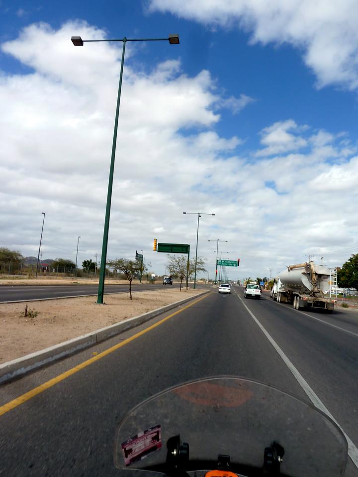 "Cruising along the highway near ""planta ford""."