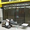 A little lack of sleep, perhaps? Jet lag? <br /> Waiting for Jordan's flight at the Milan Malpensa Airport....