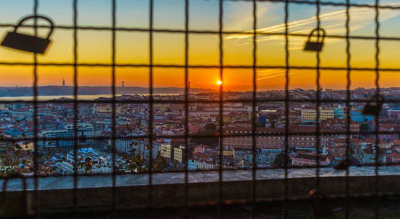 Locked in Lisbon Viewpoint at Sunset Photography 2 By Messagez com