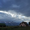 Barns in the Mormon row in the Grand Teton national park, Wyoming, USA