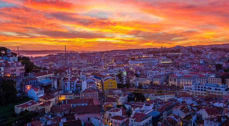 Lisbon Fire Sunset