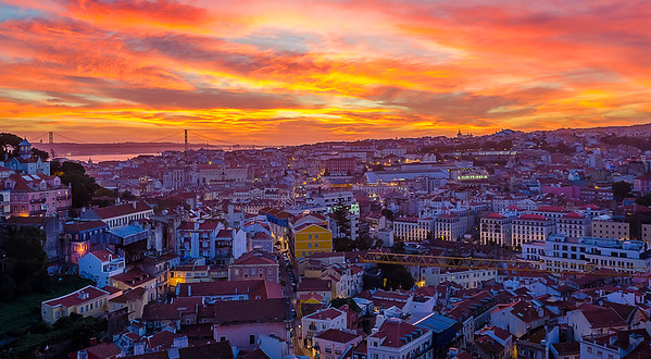 Lisbon Fire Sunset