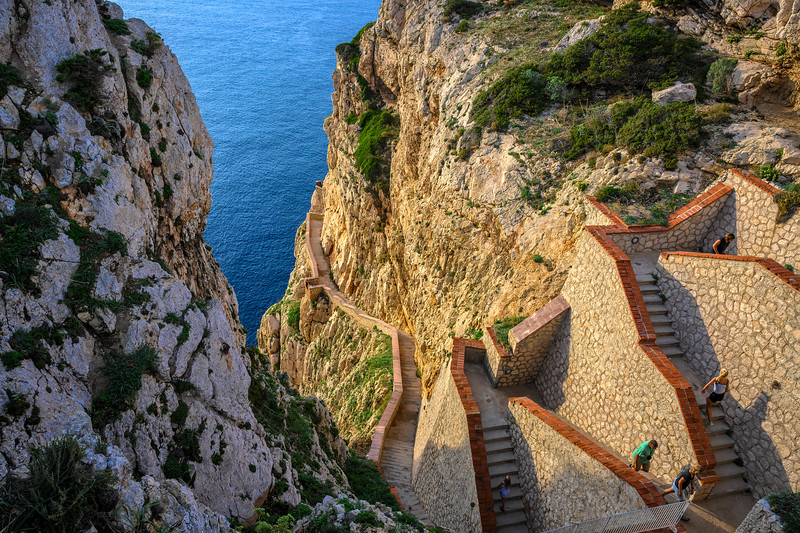 Part of the 654-step escala del cabirol (goat's steps) leading down to Nepture's Grotto, Capo Caccia, Sardinia, Italy
