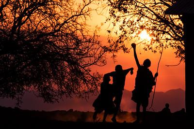 Maasai Kids Silhouette