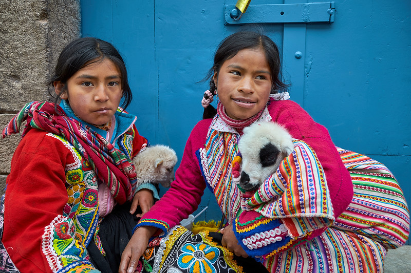 Girls dressed in traditional dress, Cusco