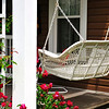White wicker porch swing, Lakeside, Ohio