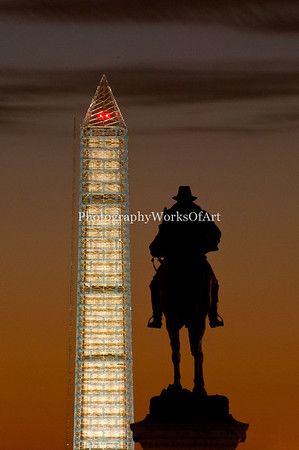 Gen. Grant Statue and the Washington Monument