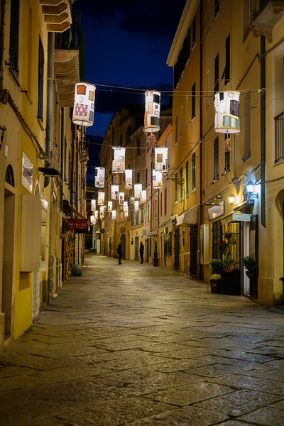 The pre-dawn streets of the town of Alghero in Sardinia, Italy