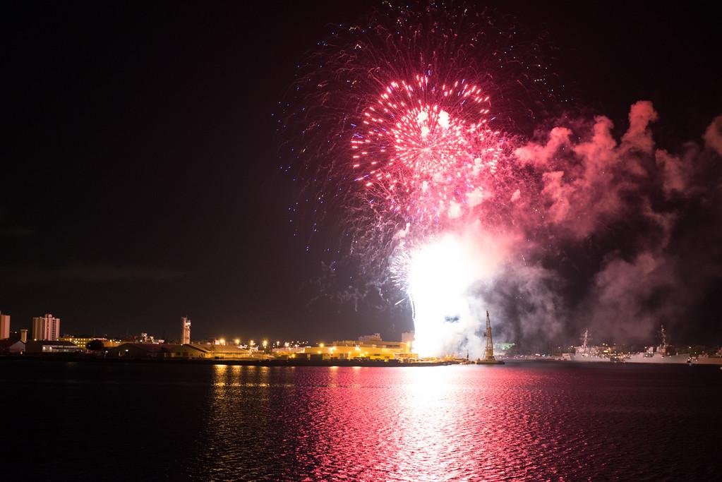 Fireworks over Pearl Harbor