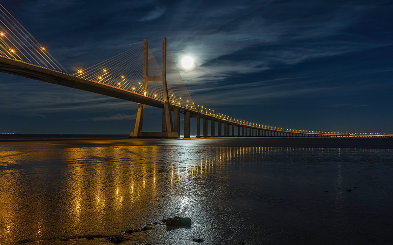 Lisbon Vasco da Gama Bridge Super Moon Photography By Messagez com