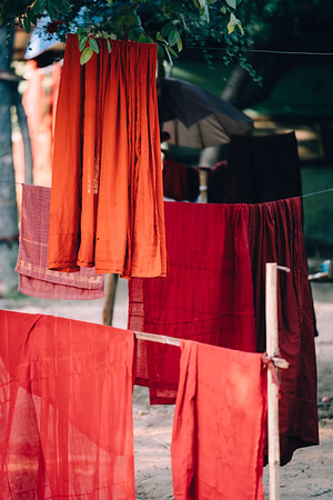 Robes set out to dry outside of a monastery in Myanmar.