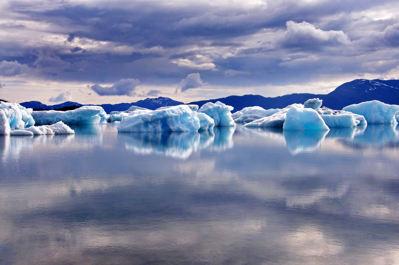 Ice bergs are lit up in Columbia bay Prince William Sound, Alaska