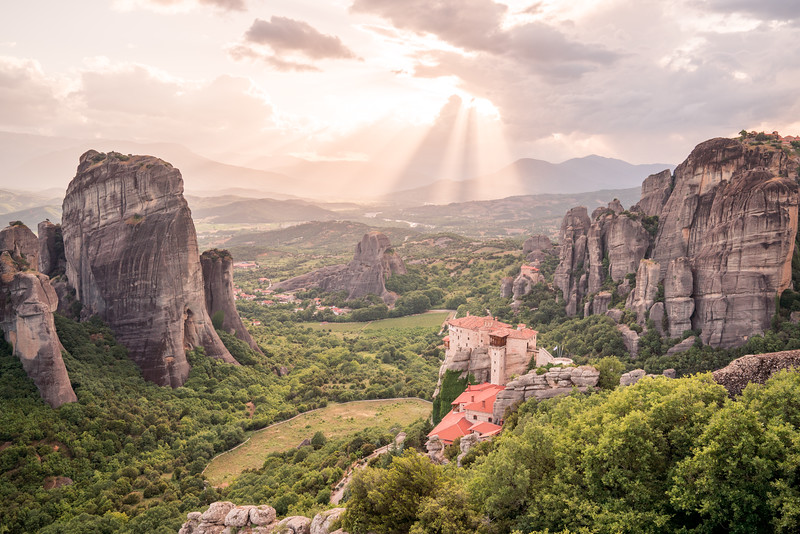 Light rays at sunset in Meteora, Greece.