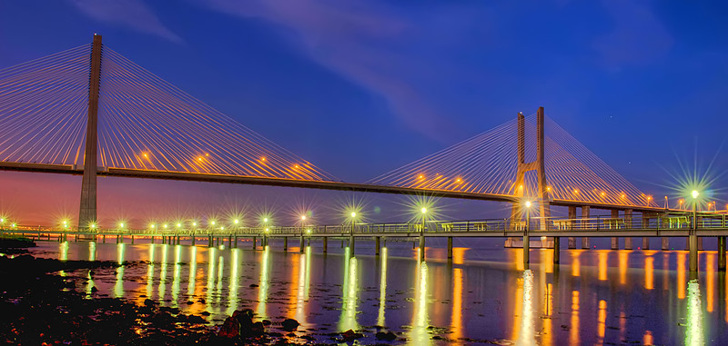 Lisbon Bridge at Night By Messagez.com