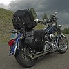 Harley Davidson motor cycle in the Lamar valley in Yellowstone national park