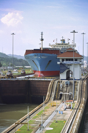 Ship transiting the Panama Canal