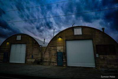 Contrasting textures at a warehouse in Albuquerque