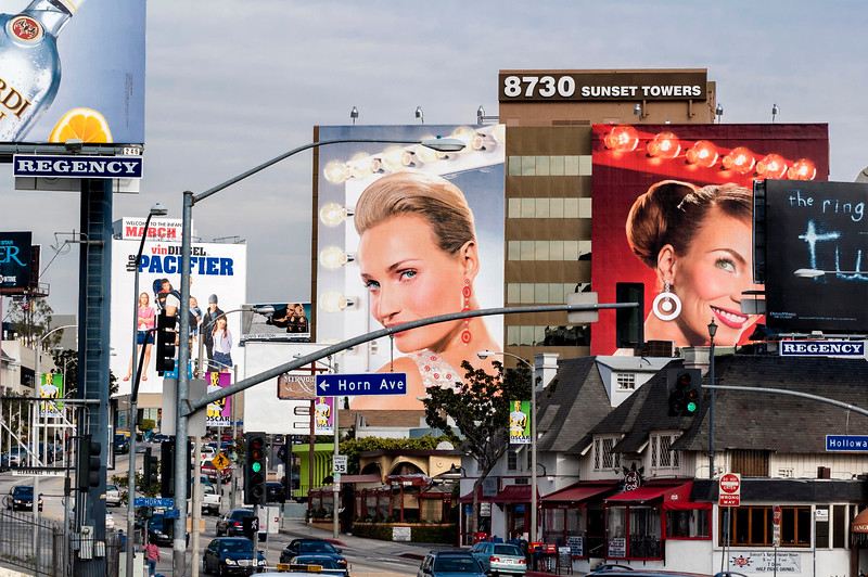 Giant posters over Los Angeles's Sunset Boulevard