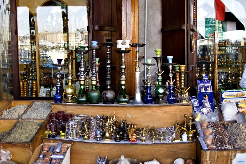 Sheesha - the Arabian smoking pipe - in a shop window in Dubai