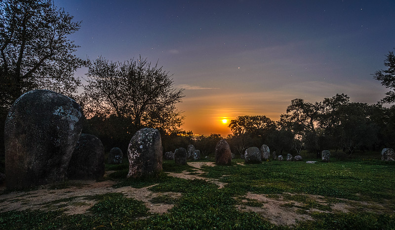 Portugal Cromlech of the Almendres Megalithic Complex Night Photography 9 By Messagez com