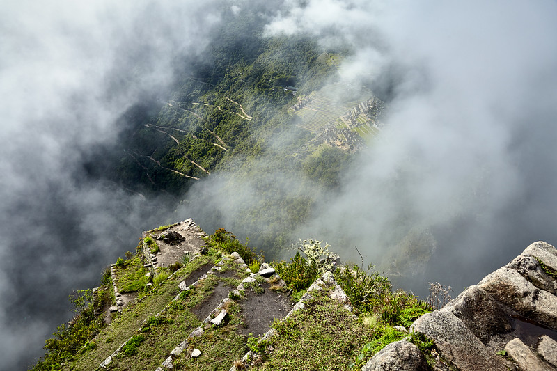 Looking down at Machu Picchu from atop Huaynapicchu.