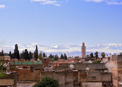Taken on Analogue Film -  Atlas Mountains from the Medina, Marrakesh