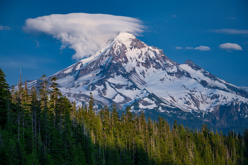 Interesting cloud formation above Mt. Hood as seen from Lost Lake, Mt. Hood National Forest, Cascade Mountains, Oregon