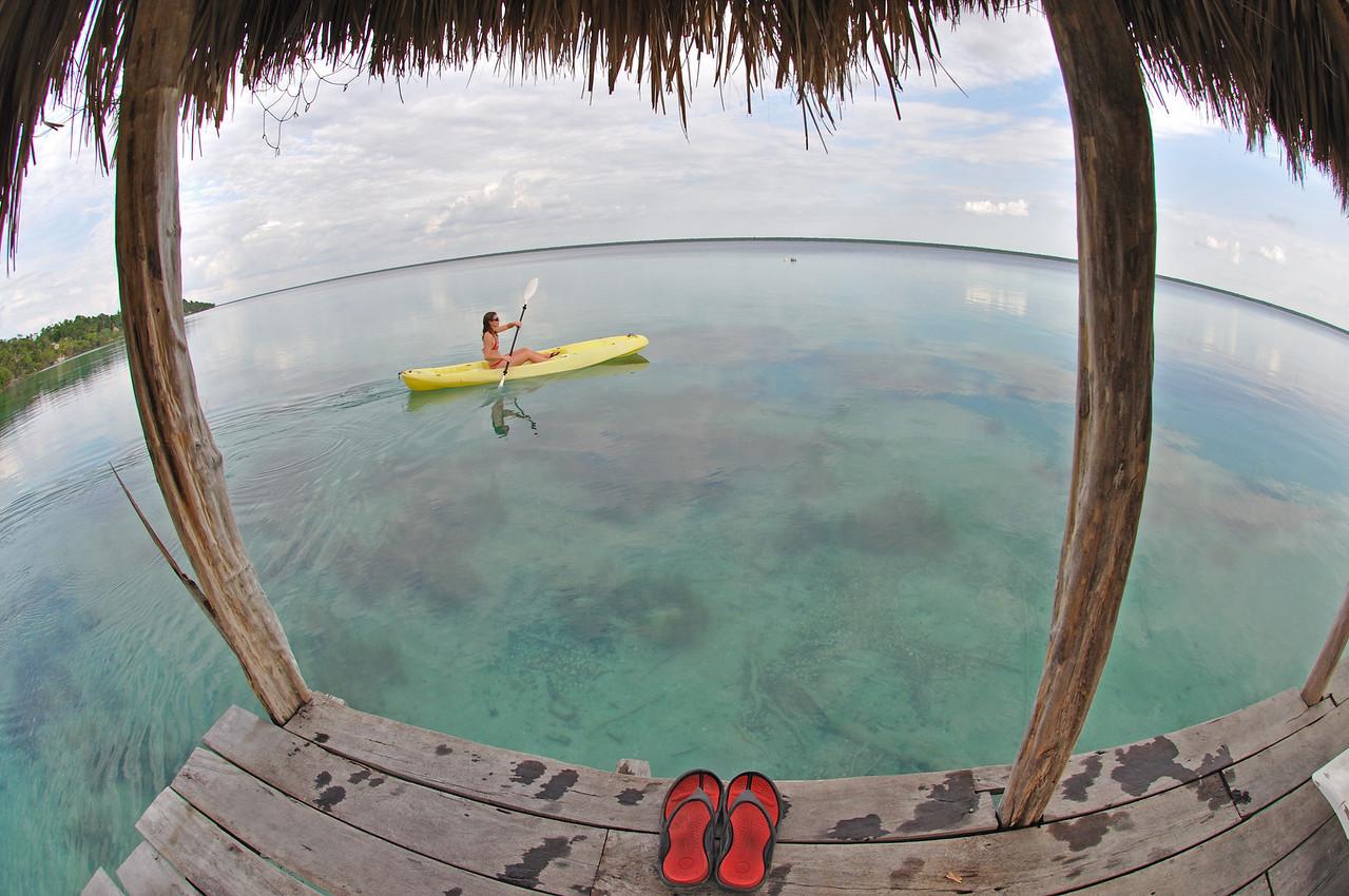 Kayaking on laguna Bacalar in the Yucatan Mexico