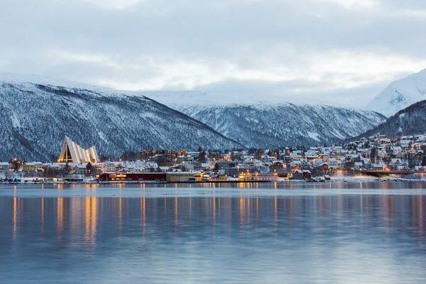 Across the fjord from Tromsø around midday
